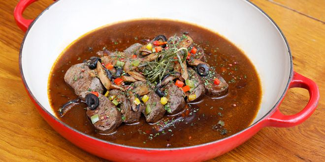 Grilled Beef with Mushroom Sauce